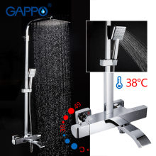 GAPPO shower Faucets thermostatic mixer bathroom shower faucet bath tub mixer wall mounted rainfall shower set mixer taps gappo shower system thermostatic mixer taps shower water mixer rainfall bathroom shower wall mounted bathtub faucets