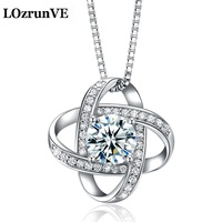 LOzrunVE Koreaanse S925 zilveren hanger element zilveren accessoires groothandel DIY hartvormige blauw en wit zirkoon lady Hanger