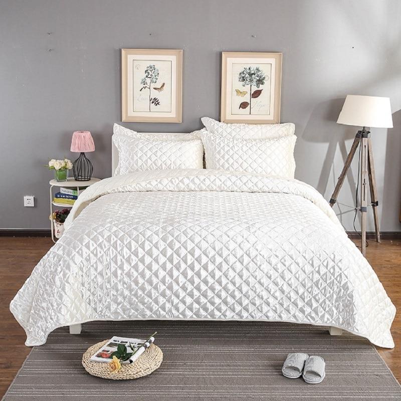 De luxe Couvre-lit Queen size ensemble couverture lit Couverture parure de lit D'été couette doudou Taies D'oreiller 3 pièces ensemble Argent Blanc Rose