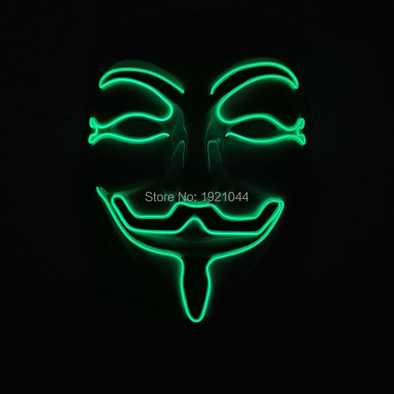 Mask Gift for Halloween EL Wire Glowing Mask +DC-3V Steady on Inverter Flash Fashion Mask Lighting Color Green