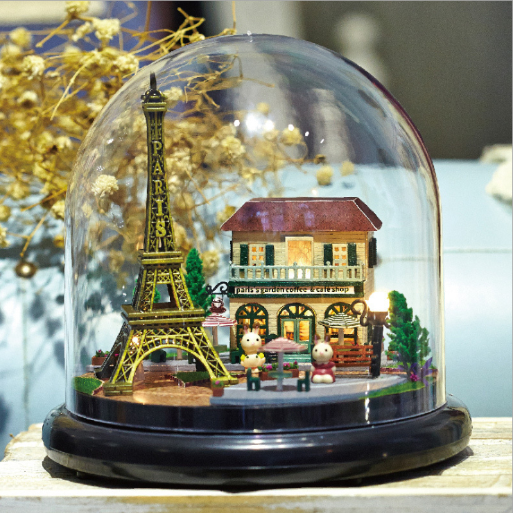DIY Miniature dollhouse Romantic Paris The Eiffel tower wood doll houses home assembling toys house glass Cover Creative Gift 1