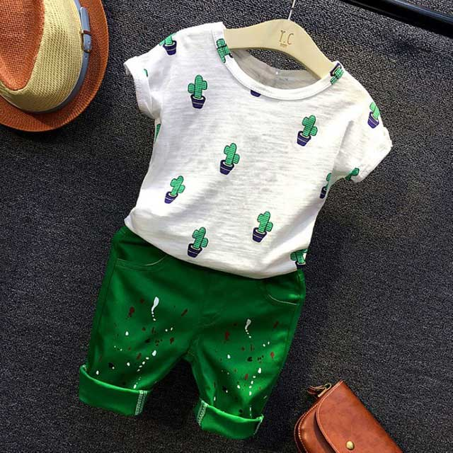 Summer Casual Children Kids baby boy's Cactus short sleeve T-shirt+ Graffiti shorts 2pcs Clothing Sets Suits S4841