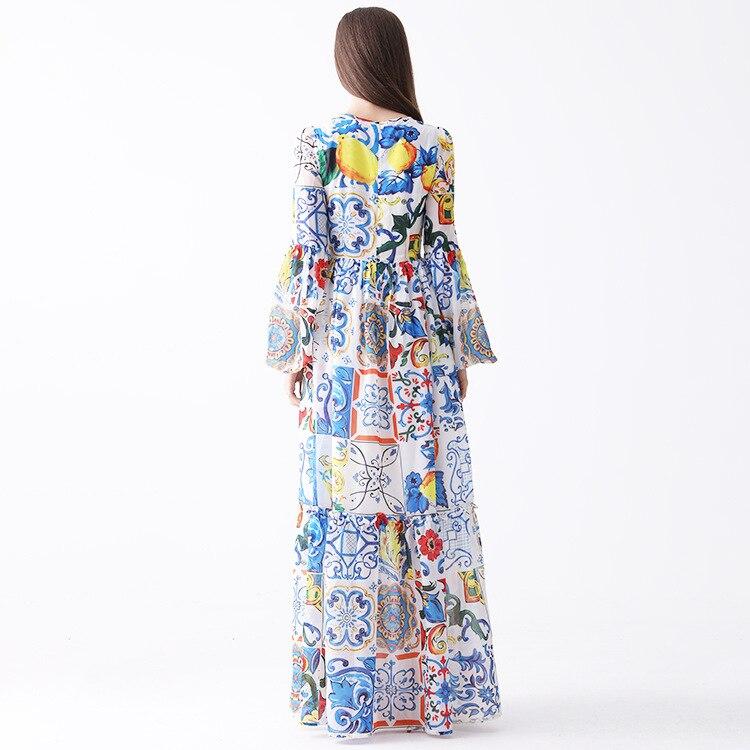 Feminino azul branco sicília porcelana padrões imprimir verão maxi vestido até o chão manga alargamento boêmio vestidos 2019 nova marca - 3