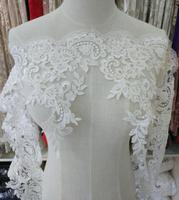 Ivory Embroidery Beading Lace Trim Wedding Dress Lace Trim Curtain DIY Lace Trim