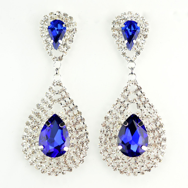 New Brand Crystal Rhinestone Earrings Evening For Women Designer Long Fashion Jewelry