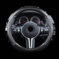 Carbon Fiber Car Steering Wheel Cover For BMW Genuine Leather Auto Steering Wheel Dia 38cm For Ford Fiesta Golf mk7