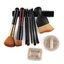 10pcs Makeup Brushes Set Kit Pro Foundation Powder Eyeshadow Eyeliner Concealer Contour Brush Cosmetics Puff Sponge Makeup Tools