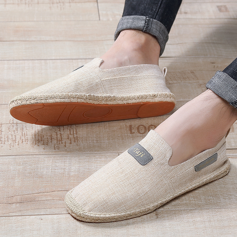 OUDINIAO Hemp Wrap Mens Shoes Spring Natural Espadrilles Men 2019 Canvas Shoes Men Breathable Men's Loafers Slip On Solid(China)
