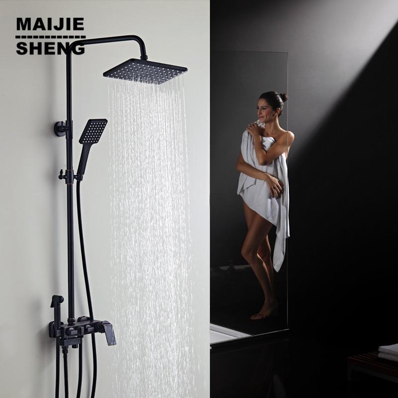 Maijiesheng черный ретро медный смеситель для душа черная ванна кран квадратная трубка с одной ручкой Топ Дождь душ с горкой Биде Душ