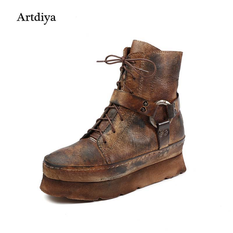 Artdiya 2017 Autumn and Winter Vintage Genuine Leather Boots Platform Thick Sole Female Increased Internal Martin Boots T1669-2 2016 new martin male autumn and winter genuine leather platform medium leg mens equestrian vintage motorcycle boots