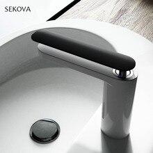 Robinet de lavabo mélangeur deau à trou unique monté sur le pont de lévier mélangeur en pierre peinte en noir chromé, en pierre peinte blanche