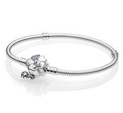 Роскошные 925 пробы 100% Серебряный Wildflower Луг Застежка Шарм цепи Fit оригинальный браслет Pandora для женщин Аутентичные ювелирные изделия
