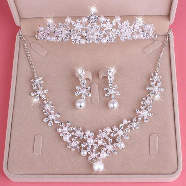 Trendy Women Tiara Necklace Earrings Jewelry Set Wedding Jewelry