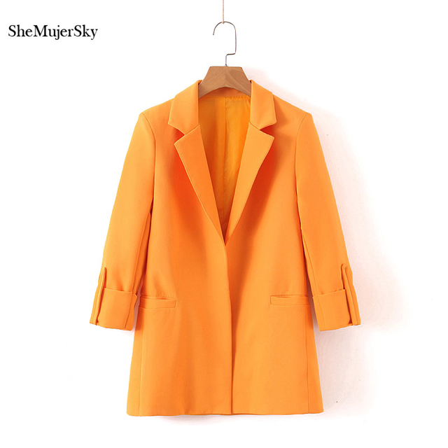 SheMujerSky mujer Blazer Color naranja chaqueta manga tres cuartos ropa de  abrigo elegante Oficina señora Blazers 2019