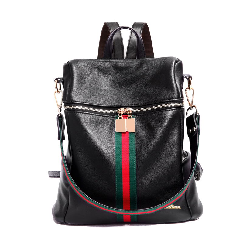 Double shoulder backpack the new south Korean version of the striped color women s backpack leisure