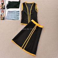 Fashion Anime Fairy Tail Natsu Dragneel Cosplay Costumes + Scarf Plaid Full Outfit for Halloween