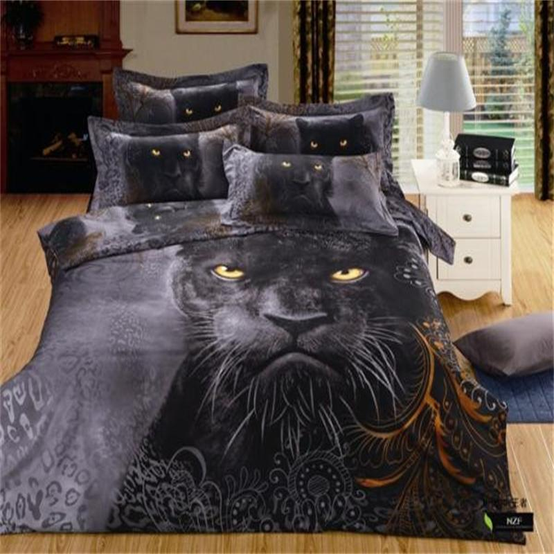 3d Animal Black Panthers Men Bedding Set Chinese Queen
