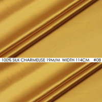 100% SILK CHARMEUSE SATIN 114cm width 19mommes Pure Mulberry Silk Fabric/China Wedding Dress Fabric Suppliers Golden NO 08