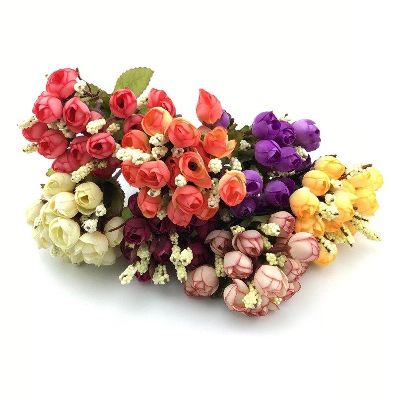 Довольно очаровательная восхитительный 15 почки 1 букет Мини Роза искусственного шелка Цветок невесты Свадебные Главная Наклейка