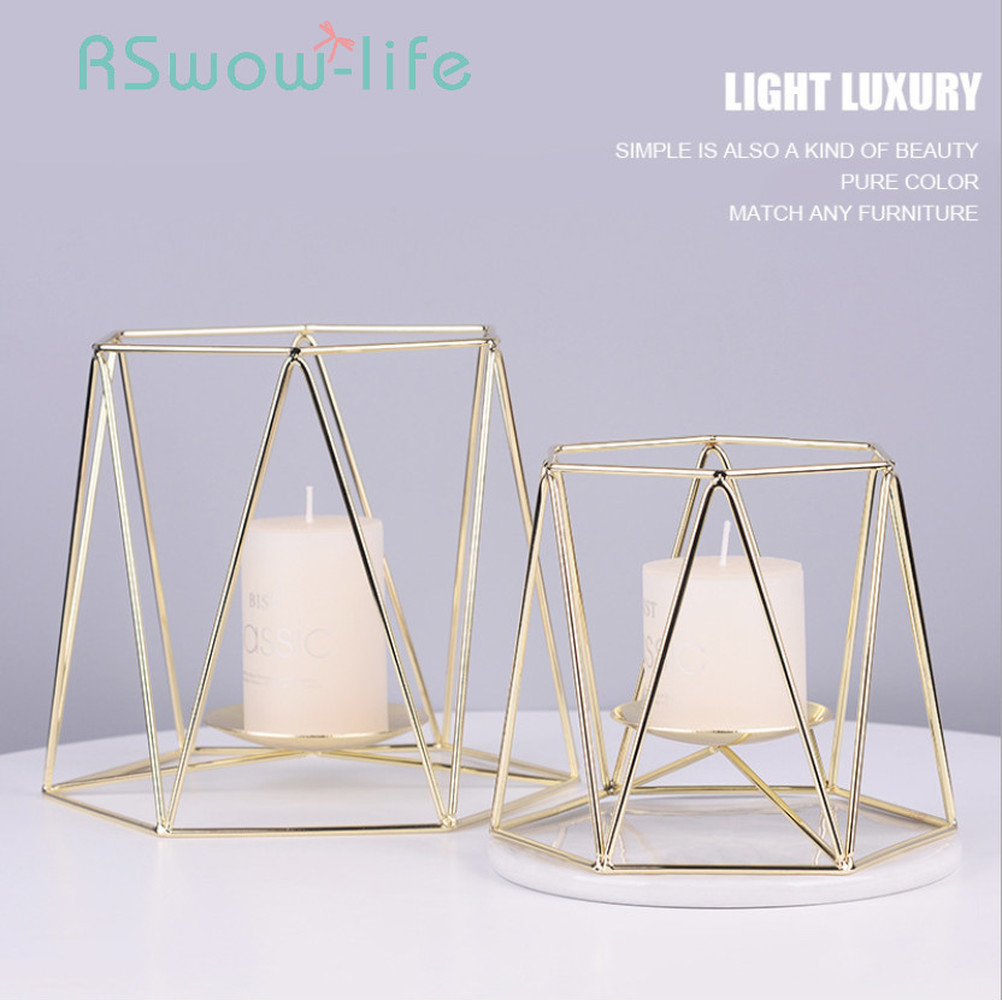Golden Wrought Iron Candle Holder Light Luxury Rose Gold Candlestick Romantic Aromatherapy Wedding Decoration Ornaments-in Candle Holders from Home & Garden