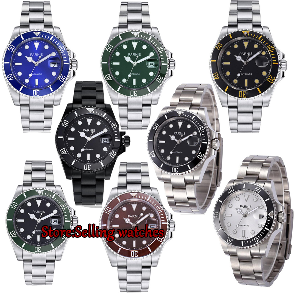Parnis 40mm Luxury Brand Mechanical Watches Luminous Automatic Watch Rotating Ceramic Bezel mens watch top brand luxury mens mechanical watches parnis 41mm full stainless steel automatic watch men rotating bezel luminous wristwatch
