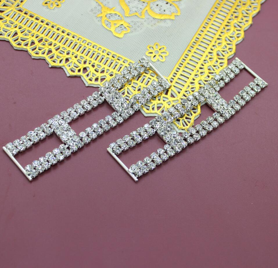 2 pcs Rectangle blanc effacer cristaux strass Bikini connecteurs   boucle  chaîne en métal vêtements à coudre sac à chaussures ceinture boucles I023 d51a70074cb