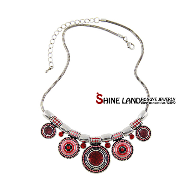2018 New Choker Necklace Fashion Ethnic Collares Vintage Silver Color Colorful Bead Pendant Statement Necklace For Women Jewelry 2