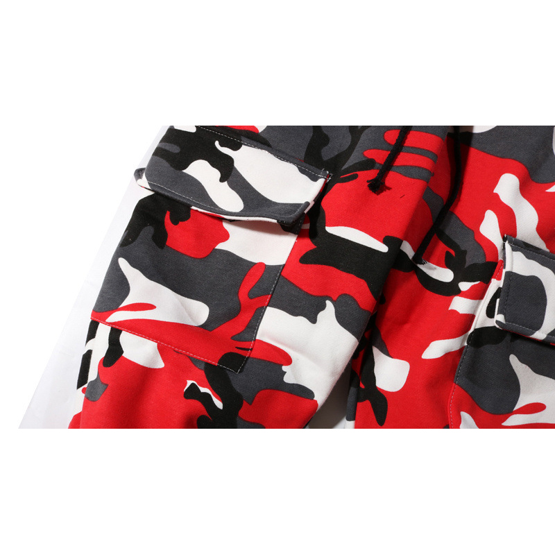 Nouveaux Plus Pantalons Hommes Survêtement Pantalon Hip Élastique Lâche Camouflage Street Mode Polaire High Rouge Hop De Poches Cargo rXRwv4Fxqr