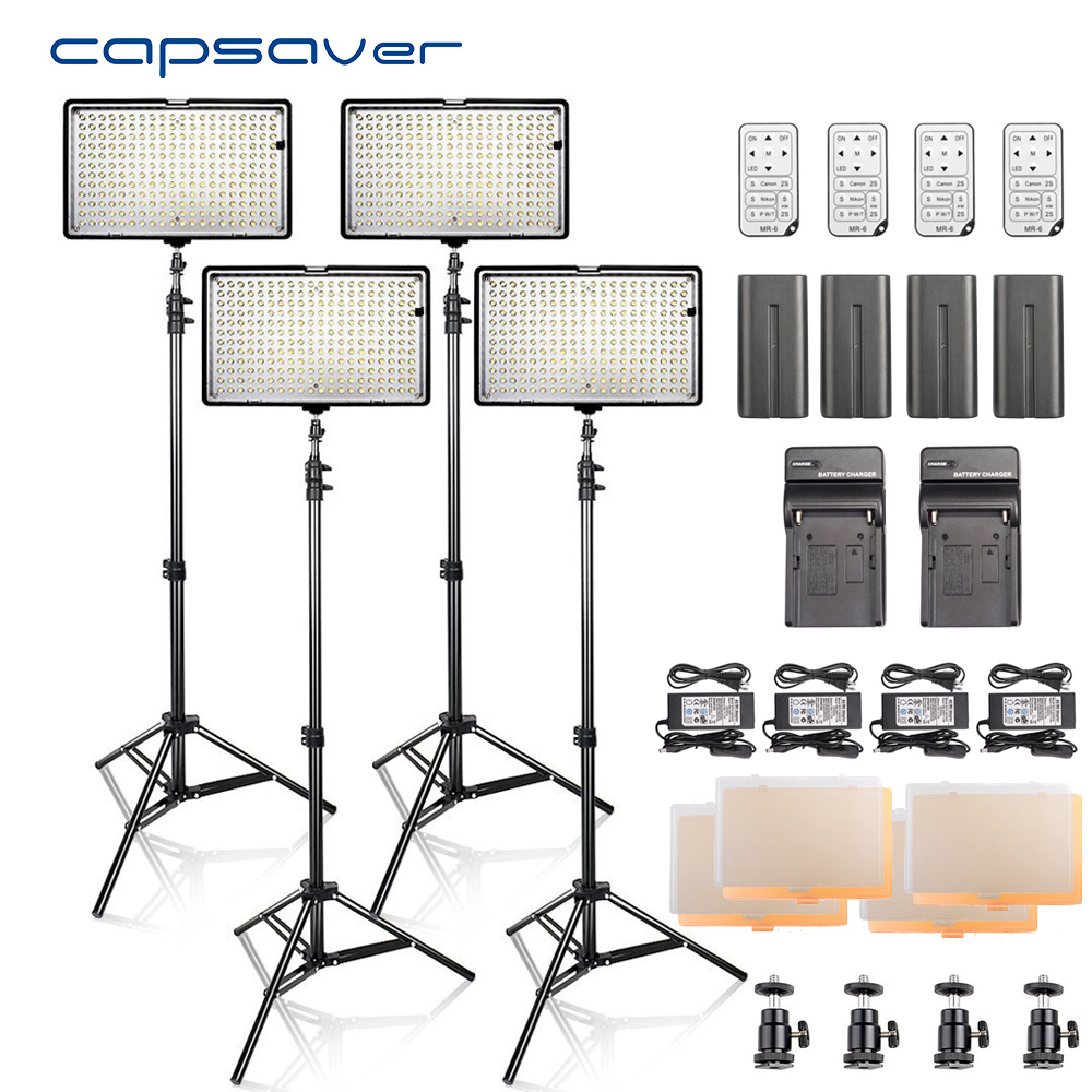 capsaver LED Video Light Photography Lighting 4 in 1 Kit with Tripod Remote Control 3200K-5600K CRI93 240 LEDs Photo Studio Lamp nanguang cn r640 cn r640 photography video studio 640 led continuous ring light 5600k day lighting led video light with tripod