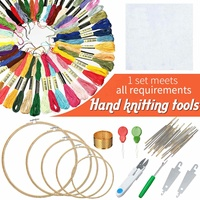 Handcraft Cross Stitch Kit Bamboo Embroidery Rings Needle Bobbins Frame Threads Cloth DIY Sewing Tools & Accessories Set