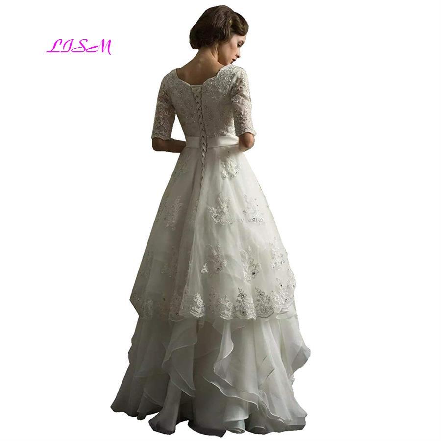 Half Sleeves Scoop Appliqued Beading Long Bridal Dress Tiered Organza Floor Length Wedding Dress 2019 Lace up Back vestido novia