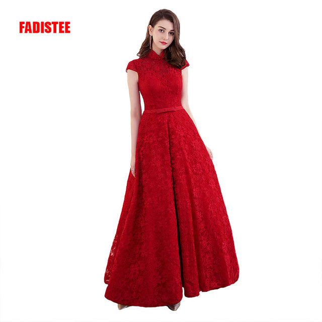 FADISTEE New arrival elegant Prom party Dresses Vestido de Festa lace cap  sleeves high neck long gown style evening frock dress cedea96bca14