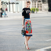 2018 Spring Short Sleeve T-Shirt Tops + Skirt Two Piece Set Colorful Floral Print Embroidery Runway Designer Women S