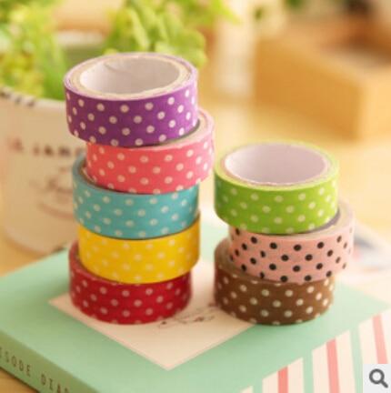 1PCS 8 colors Polka Dots Masking Tape Washi Adhesive Stationery Decorative DIY Cute Cartoon  Scrapbooking Free shipping 0001