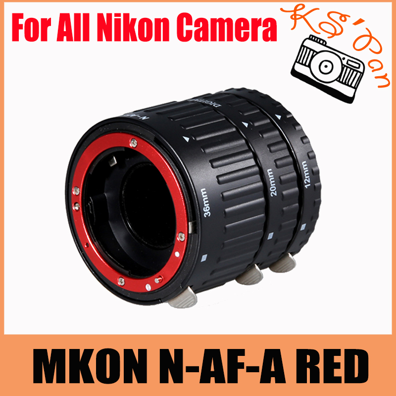 MKON N-AF-A kit de Tube d'extension de Macro AF à mise au point automatique en métal rouge pour appareil photo Nikon