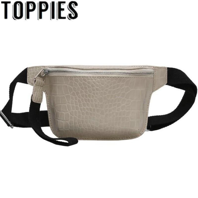 2020 Trendy Women Pu Leather Waist Bag Zipper Mini Bags Korean Fashion Women Faux Leather Chest Bag