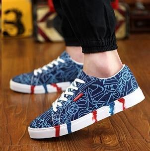 9c18c69855b7d New Men Shoes Spring Autumn Casual Printed Canvas Shoes Men's ...