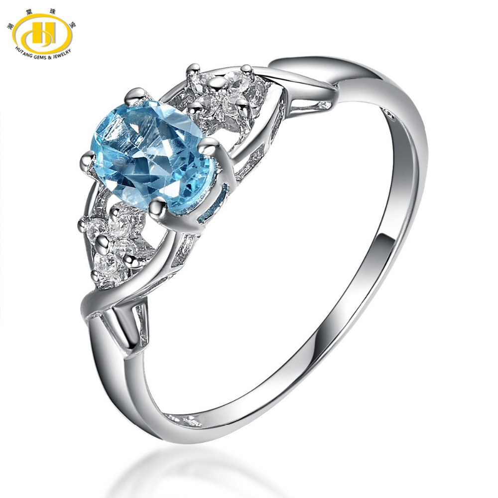 add7d307c2e4 ①Hutang Природный камень ювелирные изделия голубой топаз Твердые ...