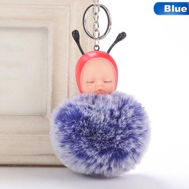 1 pcs!! Moda Abelha Do Bebê Dormindo Boneca Chaveiro Pompom Fofo Chaveiro Llaveros Chaveiro Saco Titular Chaveiro Pompom Pom Pom Porte