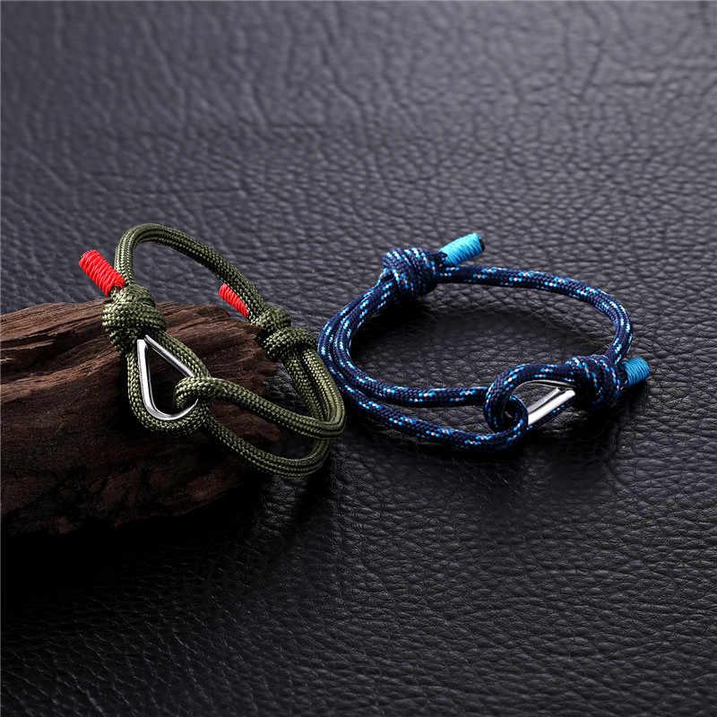 MKENDN New Arrival Sport Camping spadochron granatowy Paracord mężczyźni kobiety Nautical Survival Rope Chain bransoletka na zewnątrz styl