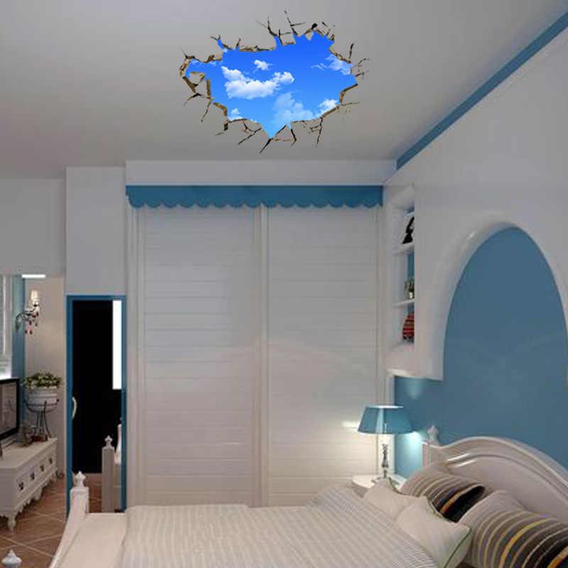 Yaratıcı Ev Dekor 3D duvar çıkartmaları Mavi Gökyüzü Beyaz Bulut Desen Bebek Odası Duvar Sanatı Tavan Çıkartmaları Duvar Kağıdı 50*70 CM