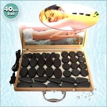 Tontin 40pcs/set body massage stone hot with 220V/110V Bamboo heating box Relieve Stress Back Pain Health Care