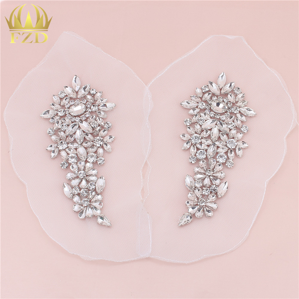 1 Pair Clear Rhinestones Sewing On Crystal Beaded Iron On Beaded Applique Rhinestone Trim For Wedding Bridal Dress ClothesFA-881