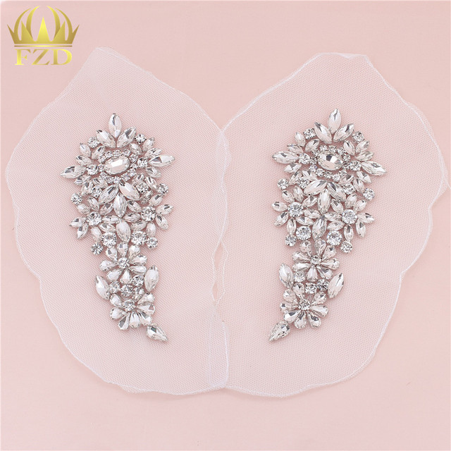 1 Pair Clear Rhinestones Sewing on Crystal Beaded Iron On Beaded Applique  Rhinestone Trim for Wedding 3c9f421f235e
