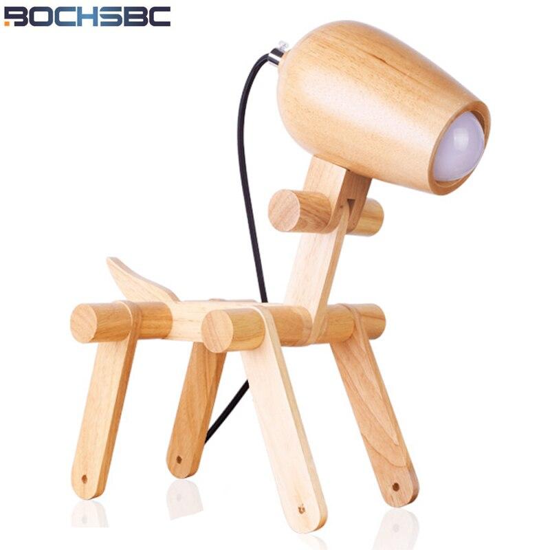 BOCHSBC Cute Wooden Table Lamp Light Modern Art Decor Desk Lamps for Study Living Room Creative Children Bedrom Beside Lampara
