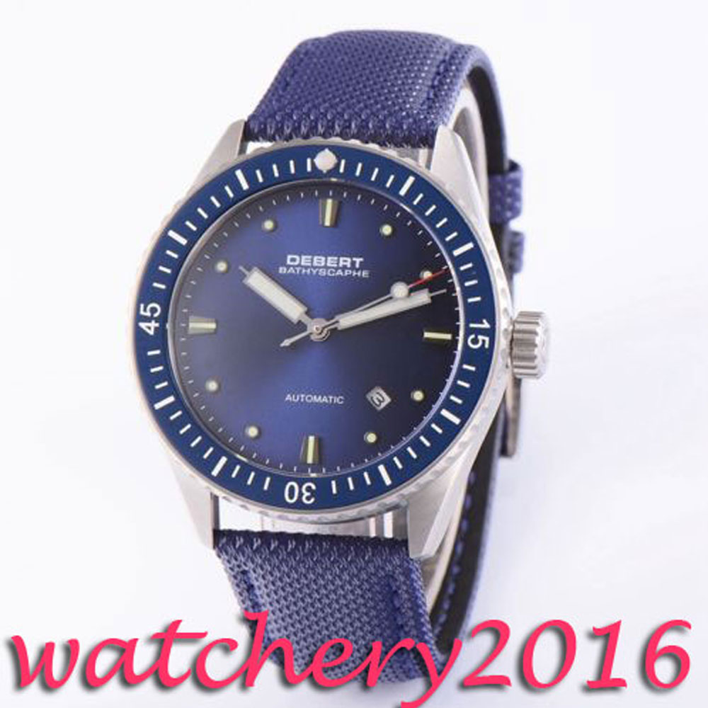 Luxury 43mm Debert blue dial luminous marks 21 jewels miyota 821A Automatic movement men s font