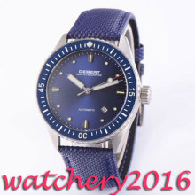 Luxury 43mm Debert blue dial luminous marks 21 jewels miyota 821A Automatic movement men's Watch