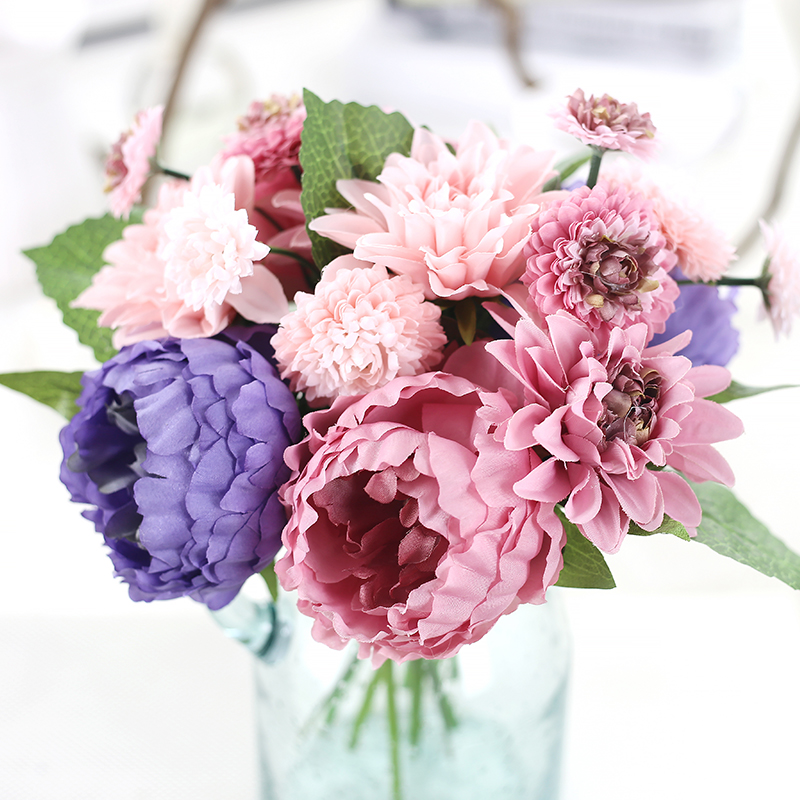 Dahias peony bouquet flower crafts simulation wedding for Fake flowers for crafts