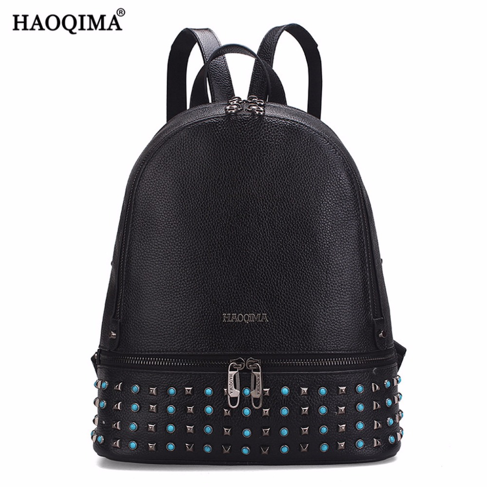 HAOQIMA Genuine Leather Back Pack Fashion Brand 2017 Real Cowhide Women Backpack Girl School Bag Sack For Teenagers