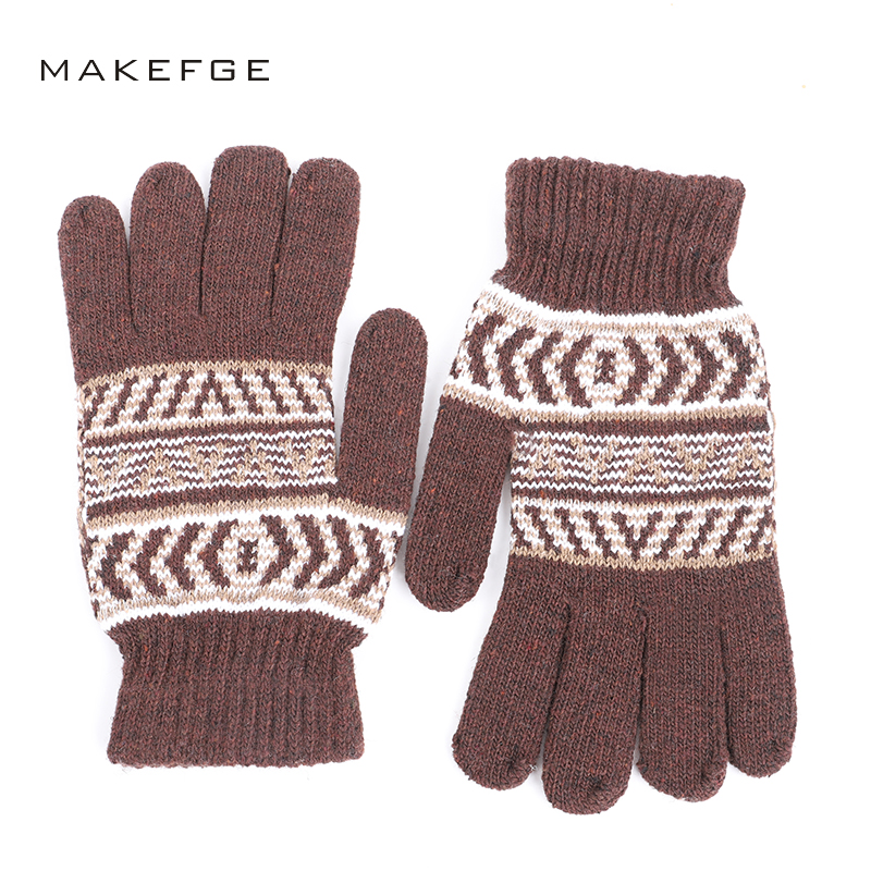 Autumn And Winter Warm Knit Gloves Fashion Stripes Plus Velvet Thick Ski Gloves Men's And Women's Universal Knitted Mittens Male